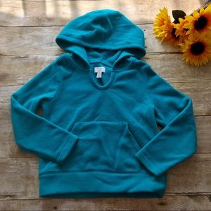 Children's place teal fleece hooded top. Size 4